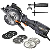 "TACKLIFE Compact Circular Saw with 6 Blades (4-3/4' & 4-1/2""), Laser Guide, 5.8A, Cutting Depth 1-11/16'' (90°), 1-3/8'' (45°), Metal Handle, Versatile for Wood, Soft Metal, Tile and Plastic Cuts"