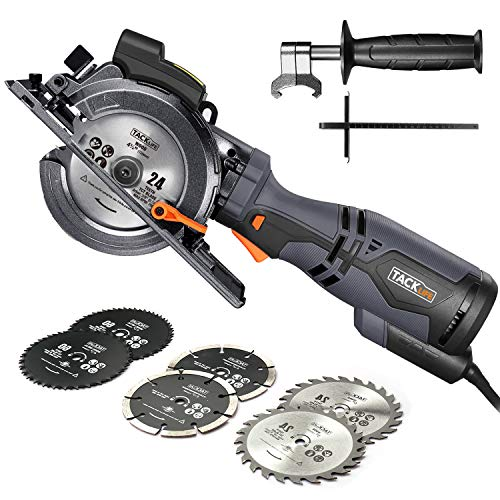 "TACKLIFE Compact Circular Saw with 6 Blades (4-3/4' & 4-1/2""), Laser..."