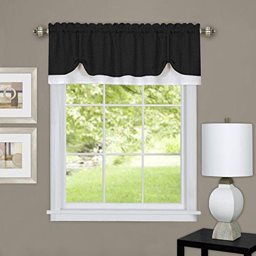 "Achim Home Furnishings DRVL14BW12 Harvard Pair Window Curtain Tier, 57"" x 65"", Burgundy, Valance 58"" x 14"", Black & White"