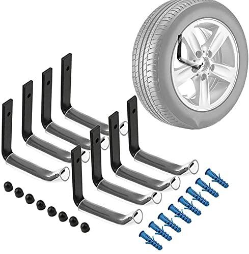 Sebastianee - Gancho para garaje, marco de neumático de coche de pared, 8 piezas, soporte para neumáticos, estantes de almacenamiento