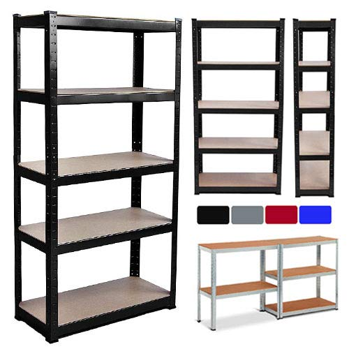 Storage Shelf, 5 Tiers 150x70x30cm Standing Garage Utility Shelving Unit, Height Adjustable & Easy Installation, 875kg Capacity Rack Shelf for Warehouse Office School Home - Silver