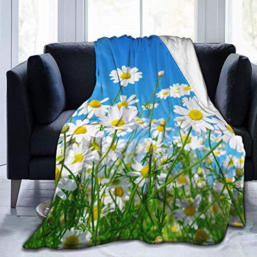 NOBRAND Manta De La Siesta Felpa Sofás Franela Flor Blanca Cielo Azul Buen sueño L127cm x W102cm
