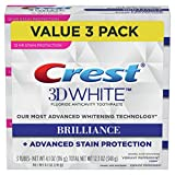 Crest Toothpaste 3D White Brilliance Vibrant Peppermint, 4.1oz (Pack of 3)