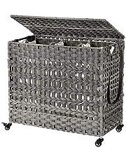 SONGMICS Handvävd tvättkorg med lock, tvättkorg i rottingstil med 3 separata fack, handtag, avtagbara foderväskor, för vardagsrum, badrum, tvättstuga, grå LCB083G02