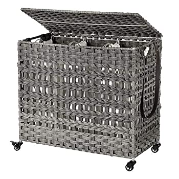 SONGMICS Handwoven Laundry Hamper Rattan-Style Laundry Basket with 3 Removable Bags Handles Laundry Sorter with Lid for Living Room Bathroom Laundry Room Gray ULCB083G02