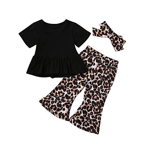 Xniral Baby Mädchen Babykleidung Set, Kurzarm T-Shirt + Leopard Hose + Stirnband Neugeborene Kleinkinder Babyset Outfits(Schwarz,2-3 Jahre)