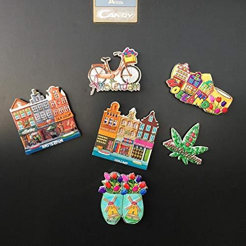 siqiwl Kühlschrankmagnet 6pcs Niederlande Amsterdam 3D Gedruckt Handwerk Magnetische Kühlschrank Aufkleber Harz Landschaft Tourismus Souvenir Geschenk Kühlschrank Magneten