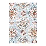 Alfombra cuadrada antigua patrón floral alfombra acogedora mesa de centro Alfombra dormitorio Alfombra sala de estar alfombra redonda Alfombra de la vendimia ( Color : BLUE , Size : 140*200CM )