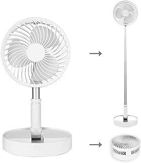"""Portable Standing Fan, 7.5"""" Foldable Desk Fan, 7200mah Battery & USB Powered 4 Speeds Quiet Fan, Mini Foldaway Floor Fan,(..."""