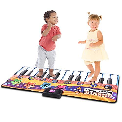 COSTWAY 24 Tasten Tanzmatte mit 8 Musikinstrumente und 4 Modi, Klaviermatte mit Aufnahme- und...