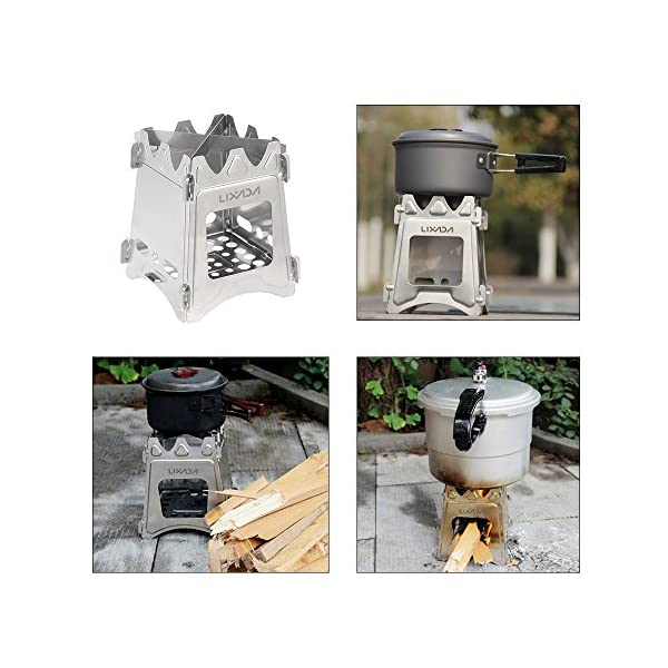Lixada Camping Wood Stove Portable Wood Burning Stove Lightweight Alcohol Stove for Outdoor Cooking Backpacking Hiking Traveling (Titanium/Stainless Steel) 7