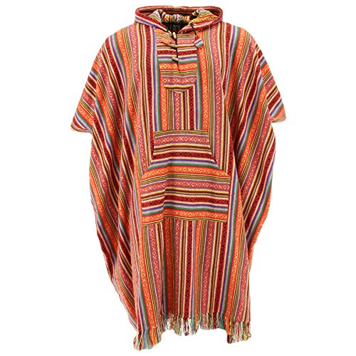 Brushed Cotton Hooded Poncho Long by Loud Blood Orange