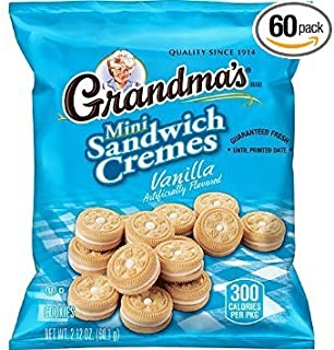 Grandma's Sandwich Cookies, Vanilla Creme Minis, 2.12 Ounce (Pack of 60) - Pack of 2