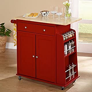 Kitchen Island On Wheels Cart With Storage Cabinet and Drawers Wood Shelves (Red)