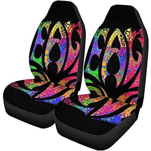 TABUE 2PCS Autositzbezüge Hippie Symbole Zwei Finger als Zeichen des Sieges Pacific...