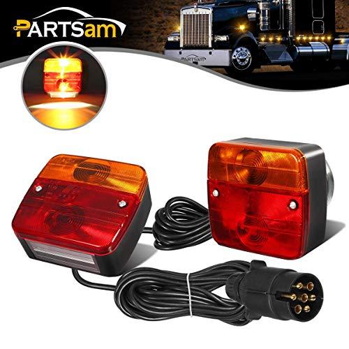 PARTSAM Luces Traseras para Remolque Iluminación del Remolque con Cableado Magnético Cable de 7,5m, 7 pines macho, 12V, Luz trasera para automóviles de colgante