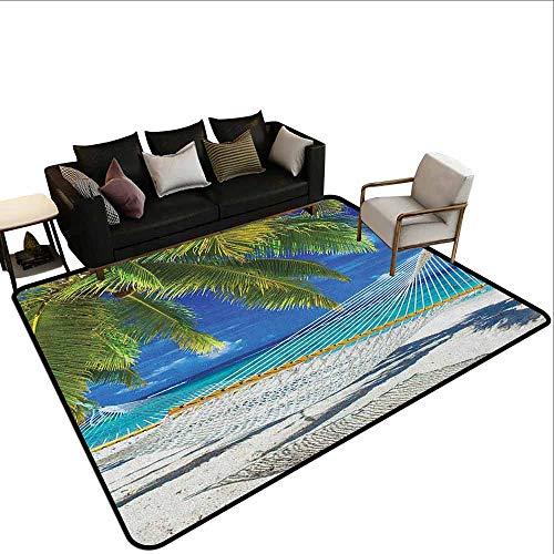 MsShe Tapijt liner voor tapijt Strand, Dreamcatcher Ibiza Zonsondergang Middellandse Zee Uitzicht Foto Vakantie Thema Afbeelding, Rood Blauw Koraal