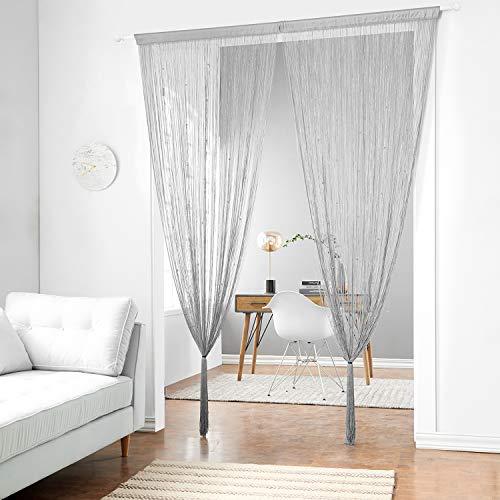 Taiyuhomes Spaghetti Perlen Schnur Vorhänge für Wohnzimmer Perlen Vorhänge Tür Vorhang Teiler Wohnkultur(Grau,90x200)