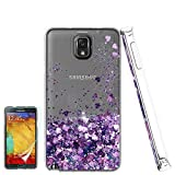 Galaxy Note 3 Phone Case,Galaxy Note 3 Cases with HD Screen Protector for Girls Women, Luxury Glitter Diamond Quicksand Clear TPU Protective Phone Case for Samsung Galaxy Note 3 Purple