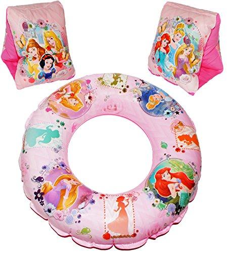 alles-meine.de GmbH 3 TLG. Set _ Schwimmflügel & Schwimmring - aufblasbar -  Disney Princess - Arielle / Rapunzel / Belle  - passend für 2 bis 6 Jahre - Schwimmärmel & Schwimmh..