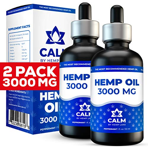 (2-pack) Organic Oil for Pain, Arthritis and Anxiety Relief - 3000 MG - Pure Organic Extract - Helps with Sleep, Stress, Hair Grown, Natural Peppermint Drops - Rich in Vitamins B, C, E & Omega 3, 6, 9