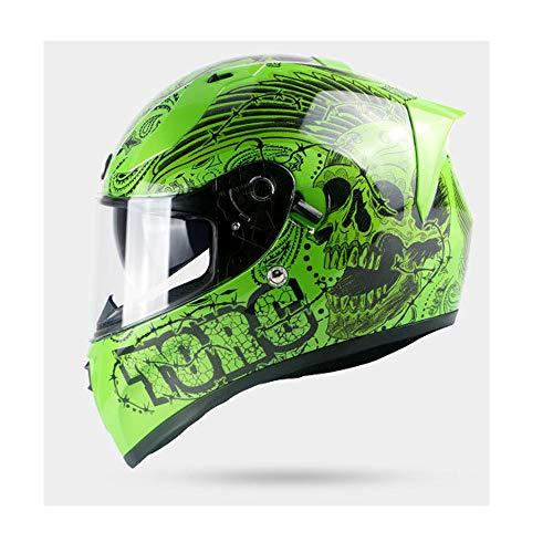 Skull Moto Casco Full Face Motocicleta Bicicleta Scooter Enduro Ciclomotor Moto Touring Casco Duro Levantar Visor Frontal Doble Homologado ECE,XL(59~60cm)