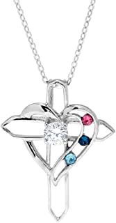 Custom Sterling Silver 3 Stone Simulated Birthstone Heart with Cross Pendant (16