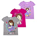 Disney Princess T-Shirts for Girls – 3 Pack Short Sleeve Graphic Tees, Sofia Grey, 3T