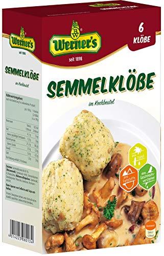 Werner´s Semmelklöße im Kochbeutel 6 Stück, 6 Packungen/Karton, ohne Farbstoffe, ohne Geschmacksverstärker, einzeln entnehmbar, (9,75€ /kg)