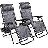 Best Choice Products Set of 2 Adjustable Steel Mesh Zero Gravity Lounge Chair Recliners w/Pillows and Cup Holder Trays, Camoflage