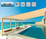 Garden EXPERT 20'x20' Sun Shade Sail Sand Large Square Canopy Sail Shade Cloth UV Block for Patio Garden Outdoor Backyard