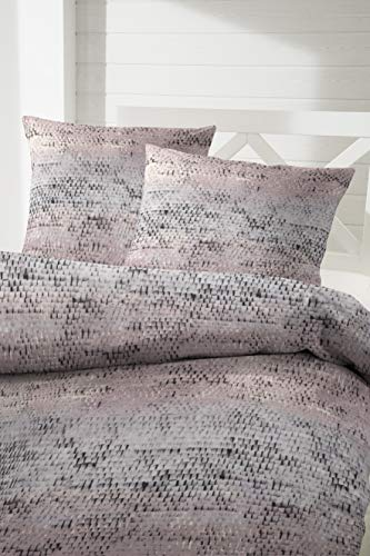 Hahn Flannelette Winter Bed Linen 135 x 200 cm Pink Grey Mauve 173070-78