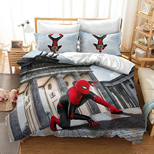 HLSM Spiderman Bedding Set,3D The Avengers Duvet Cover Set with Pillowcases Single/Double/King Size Kids Adult Red Microfiber Bedding Set (A09,220X240CM)