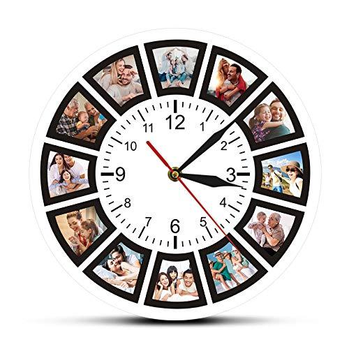Biubiubiubiu CREA Tu Propio Collage Personalizado De 12 Fotos Reloj De