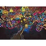 Gymqian Psychedelic LSD Tree Light Cotton Canvas Art Print Pintura Póster Cuadros de la Pared Decoración del hogar Decoración de la Pared Sin Marco -C 45x60cm Sin Marco