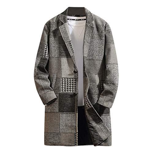 Wool Blend Blazer Men Notch Lapel 2 Button Jacket Suit Houndstooth Coat Gray, S