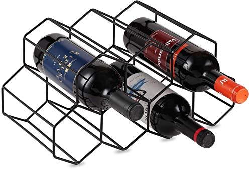 Mazu Homee Estante para vino con capacidad para 7 botellas de vino, estante de almacenamiento de vino independiente en la encimera, estante de ahorro de espacio para vino tinto y blanco, negro