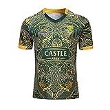 ZDVHM 2020 Afrique du Sud Springboks 7s Jersey de Rugby Uniforme Manches Courtes 100% Polyester Tissu Respirant T-Shirt T-Shirt Chemise de Football pour Hommes Femmes Enfants (Color : 1, Size : S)