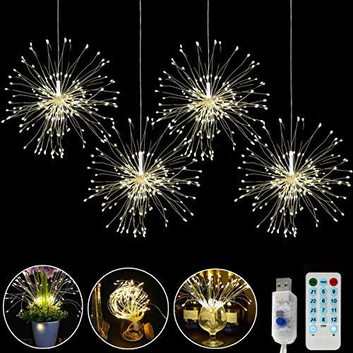 4 Köpfe led kupferdraht feuerwerksleuchten,LED Feuerwerk Licht,USB-betriebenen Hängende Starburst Lichter Bouquet Form mit Fernbedienung 8 Modi der Lumineszenz für Weihnachten Party Garten