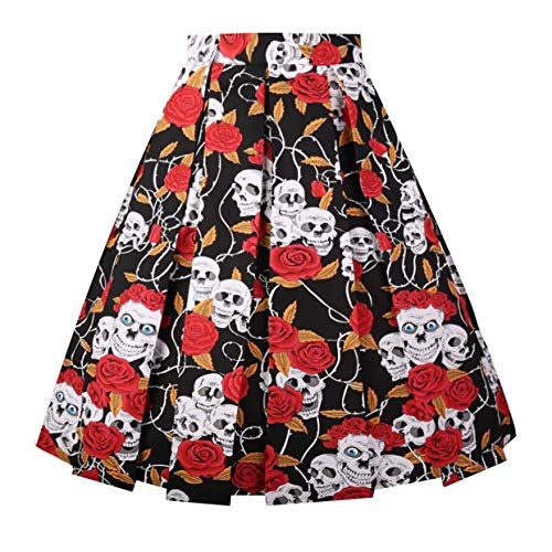 DresseverBrand Damen Rockabilly Rock A Linie Retro Rock Midi Swing R?cke Black-Skull-dot Large