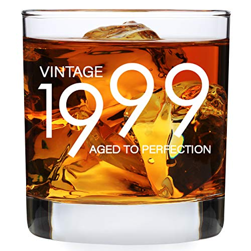 1999 21st Birthday Gifts for Men Women - 11 oz Whiskey Bourbon Lowball Glass - Funny Vintage 21 Year Old Present Ideas for Him Dad Husband - Anniversary Whisky Glasses Party Decorations