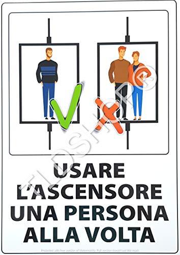 TLDSHOP® SEGNALETICA COVID-19:'Usare l'ascensore una persona alla volta' 29,7X42 cm - PZ 1