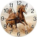 Lewiuzr Reloj de Pared Redondo Reloj de Escritorio Moderno Reloj Colgante clásico Que no Hace tictac para la Oficina de la Escuela en casa,Caballo Corriendo