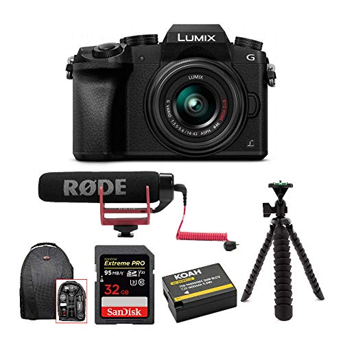 Panasonic LUMIX G7 Digital Camera with 14-42mm f/3.5-5.6 Lens & Rode Microphone Accessory Bundle