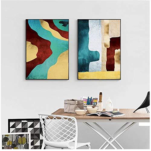 Cartel nórdico Abstracto Pintura de Lienzo Dorado Cuadros de Arte de Pared para Sala de Estar Decoración para el hogar Moderno 19.7x27.6in (50x70cm) x2pcs SIN Marco