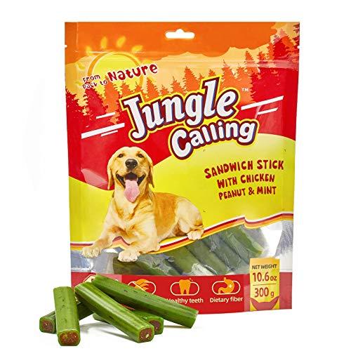 Jungle Calling Comida Perros, Golosinas para Perros Comida Seca para Perros Varilla Molar Dientes Limpios Suplemento de Calcio Nutritivo y Delicioso,300g(Contiene Pollo, Maní, Menta, Algas)