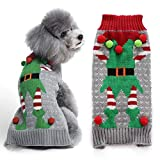DOGGYZSTYLE Ugly Dog Sweaters for Christmas Pet Cat Clothes Xmas Elf Design Holiday Festive Puppy Jumpers Apparel (XS,Gray Elf)