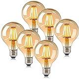 ASANMU Bombilla Edison vintage, 6 unidades, G80, bombilla incandescente vintage, LED, E27, 4 W, blanco cálido, bombilla decorativa, ideal para nostalgia, iluminación retro, casa, cafetería, bar