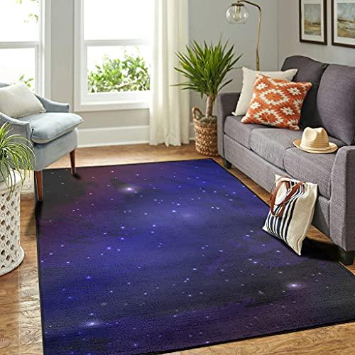 Veryday Universe Galaxie - Alfombra de lujo con diseño de cielo estrellado, para dormitorio, cocina, color blanco, 122 x 183 cm