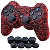 9CDeer 1 Piece of Silicone Water Transfer Protective Sleeve Case Cover Skin + 8 Thumb Grips Analog Caps for PS3 Controller, Leaves Red